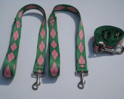Green Argyle Wishbone Dog Leash