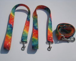 Wishbone leash tye dye rainbow pattern